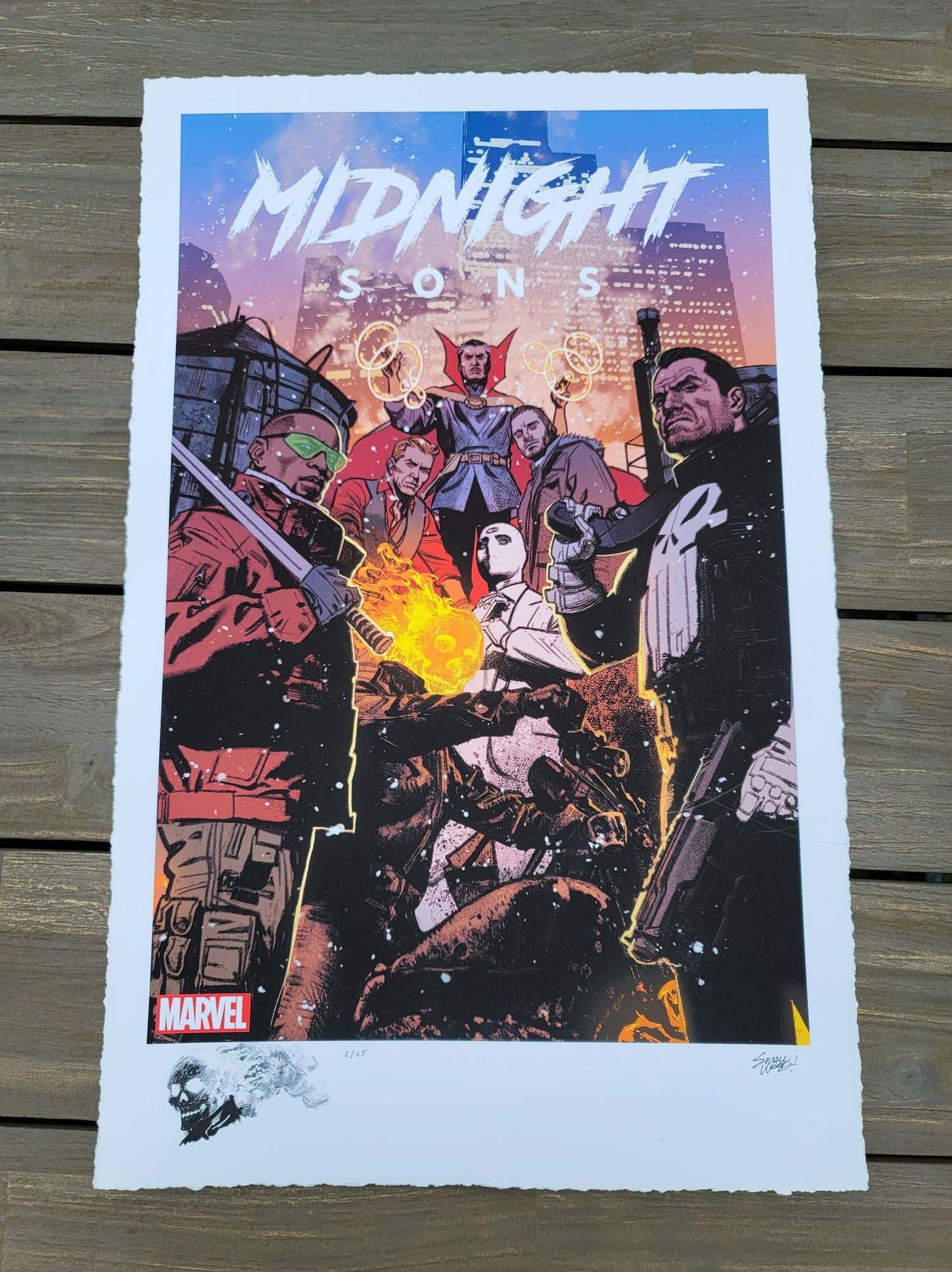 "Image of GHOST RIDER #2 : Marvel ""Midnight Sons"" Limited REMARQUE EDITION Giclee Print By Greg Smallwood"