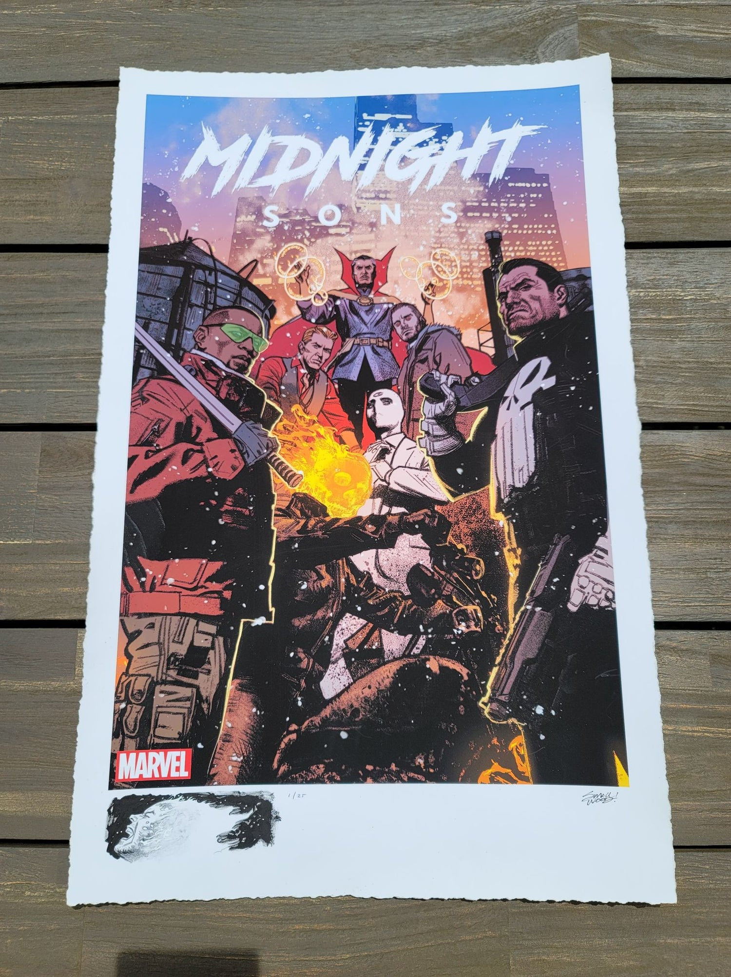 "Image of GHOST RIDER #1 : Marvel ""Midnight Sons"" Limited REMARQUE EDITION Giclee Print By Greg Smallwood"