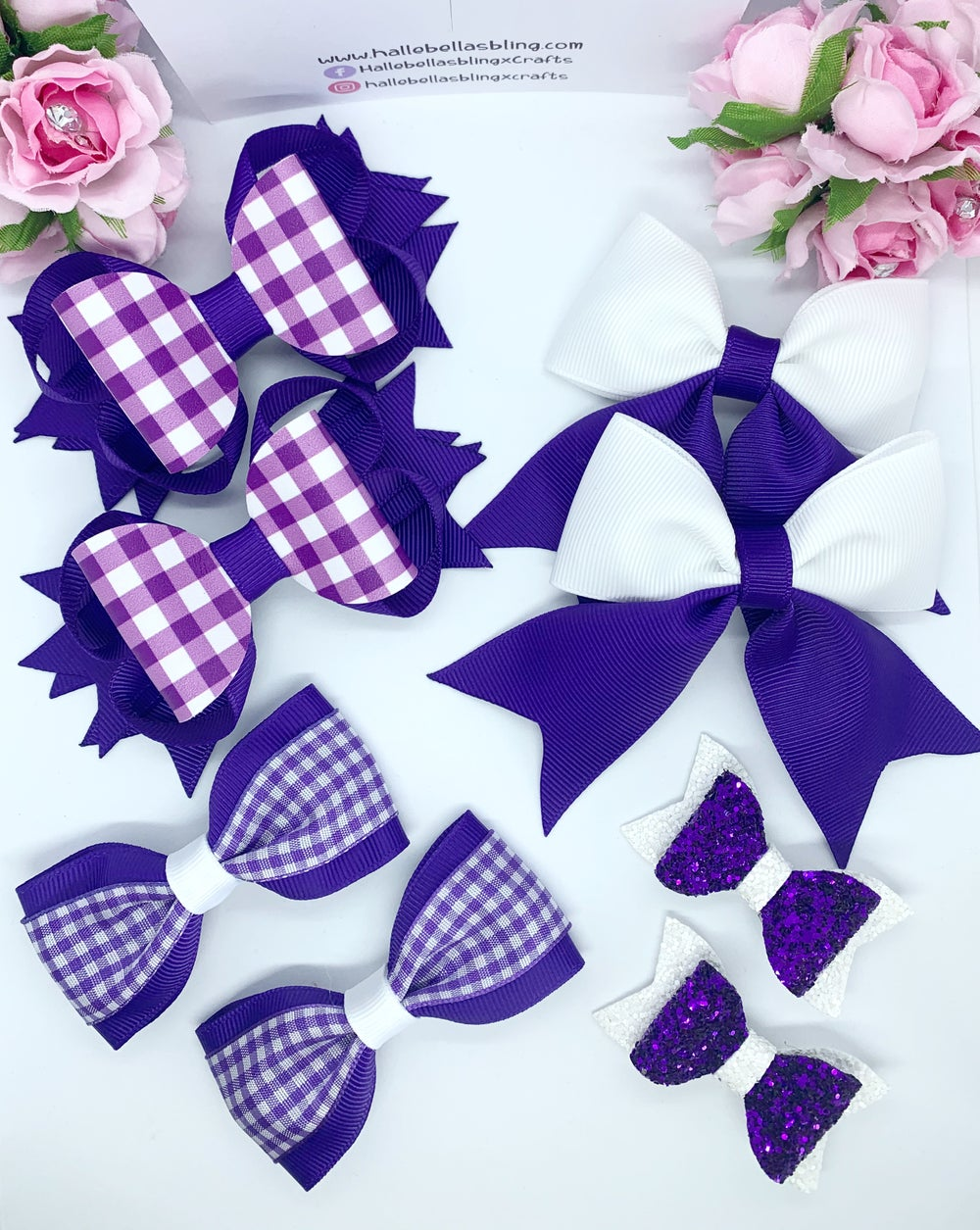 Image of 8 piece gingham hair bow set