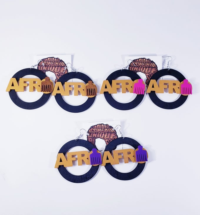 Image of Circle Afro Pick Earrings