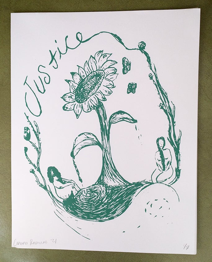 Image of Green Justice Screen Print-FREE SHIPPING