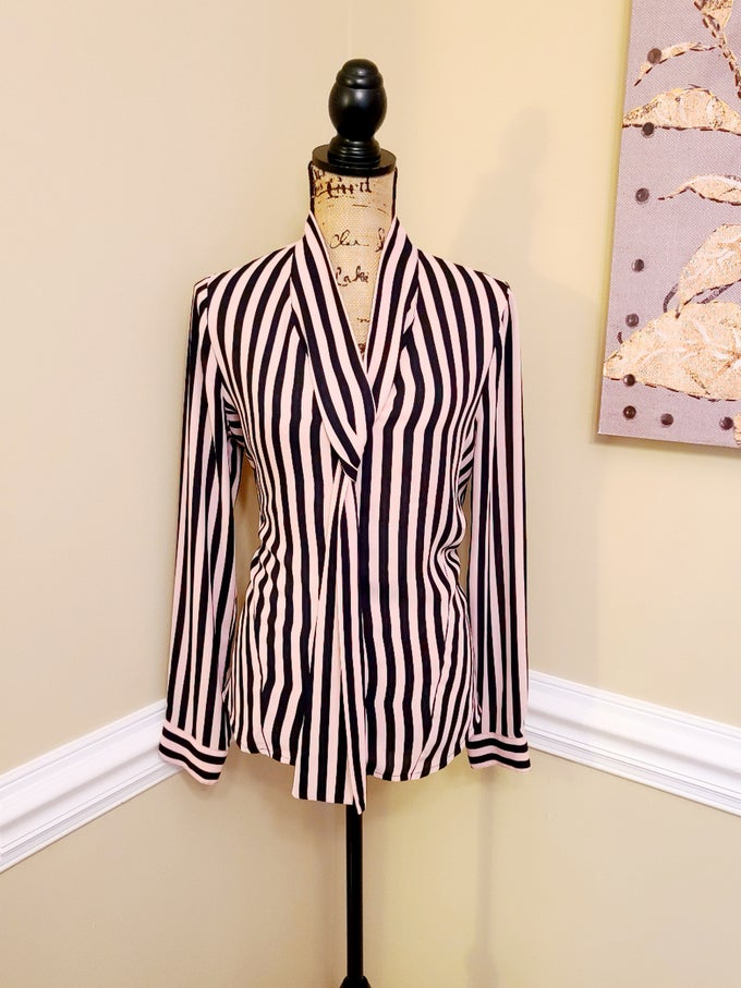 Image of Pink Black Stripe Button Up