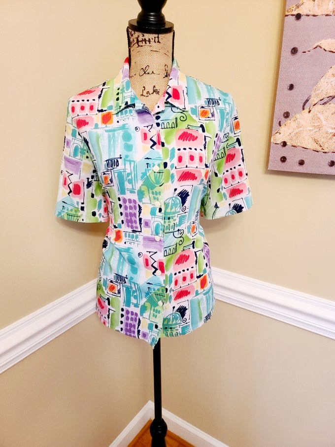 Image of Water Color Print Button Up