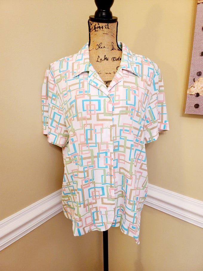 Image of Pastel Print Button Up