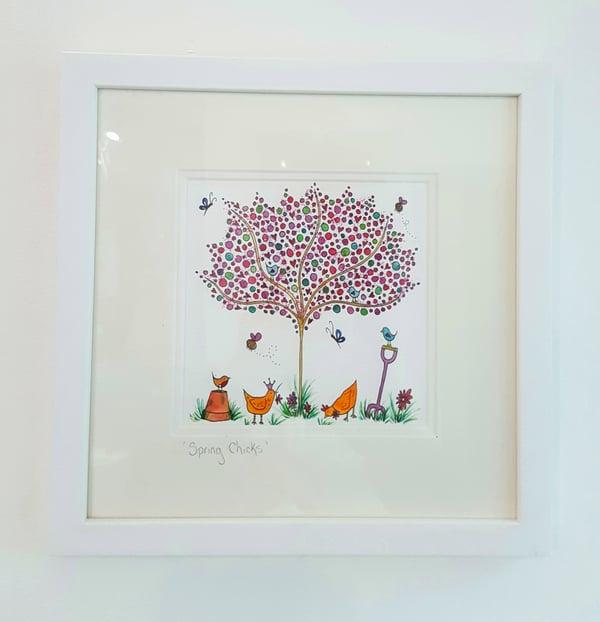 Image of 'Spring Chicks' Original Framed Watercolour