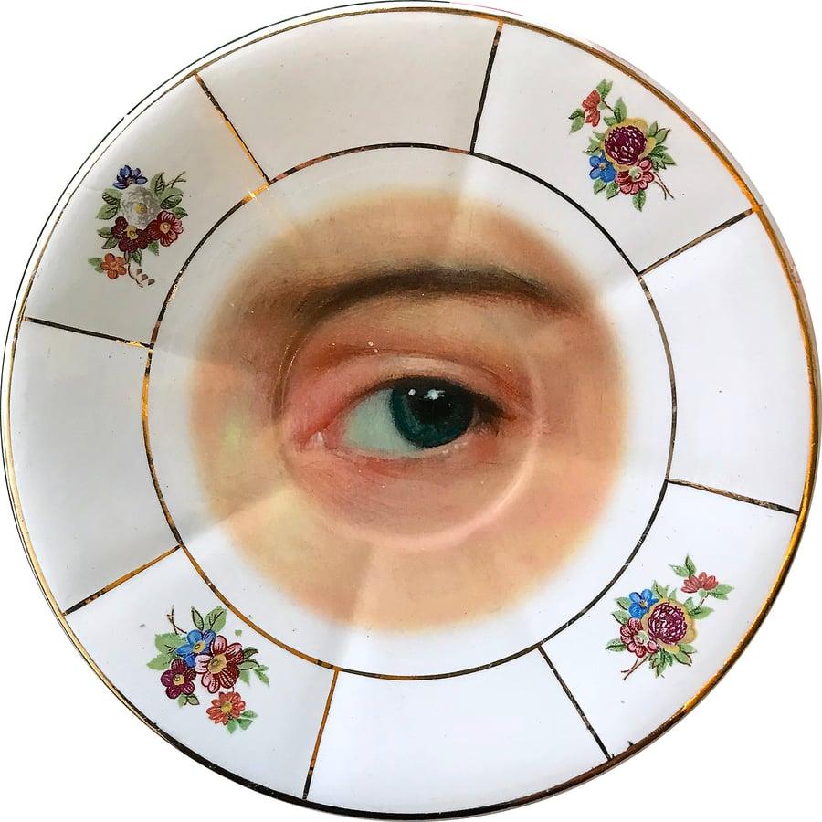 Image of Lover's eye - Vintage Porcelain Plate - Azul - UNIQUE PIECE - #0638