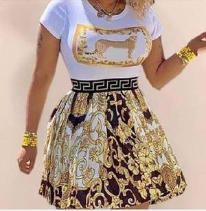 Image of REGULAR SIZE GOLD GODDESS DRESS KNEE LENGTH
