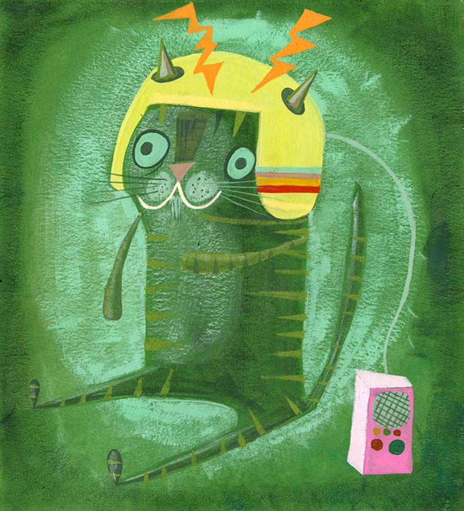 Image of Simon in his communication helmet. Limited edition print.