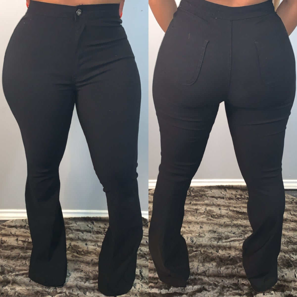 Image of Black Stretch Wide Legs