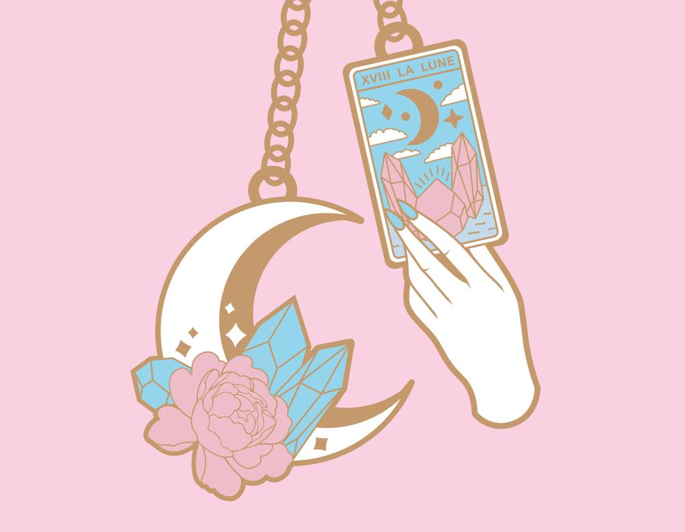 Moon and Card Pastel Hard Enamel Keychain   PRE-ORDER