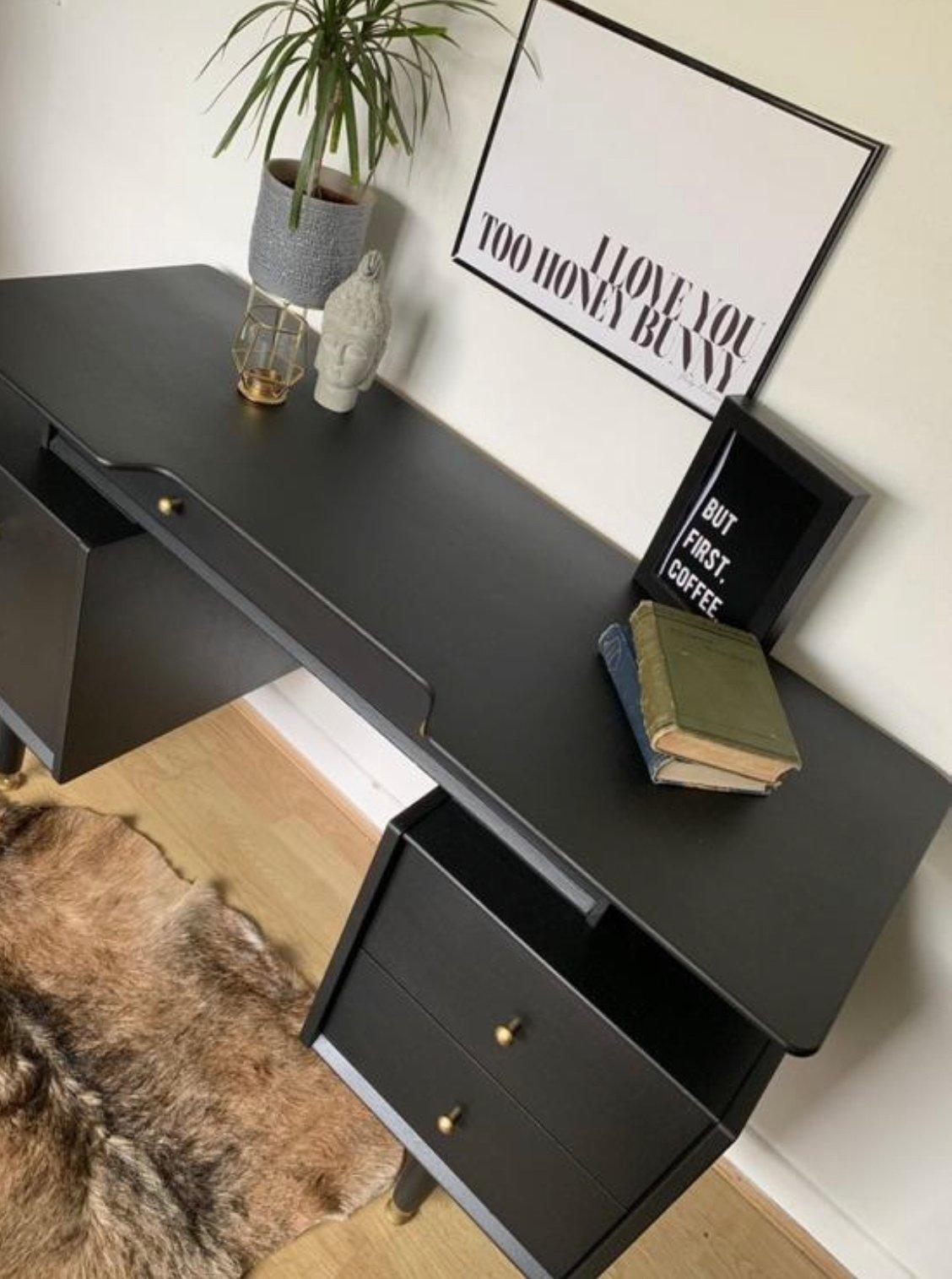Image of Black G plan desk / dressing table