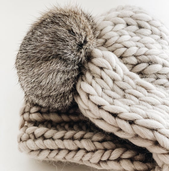Image of Pale stone grey beanie