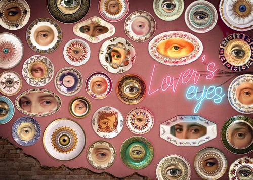 Image of Lover's Eye - Blue - Burst - Vintage Spanish Fine Bone China - #0645