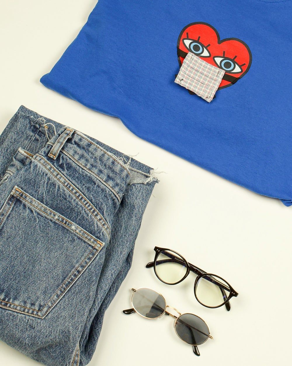 Image of 'Wear Your Mask' Long Sleeved T-Shirt BLUE