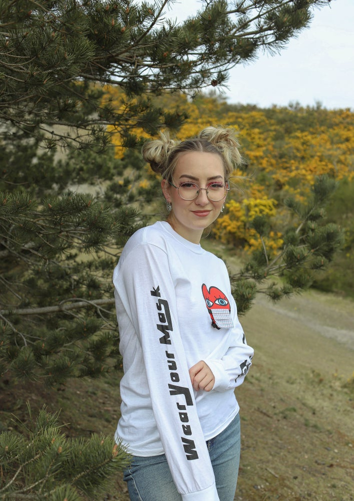 Image of 'Wear Your Mask' Long Sleeved T-Shirt in WHITE