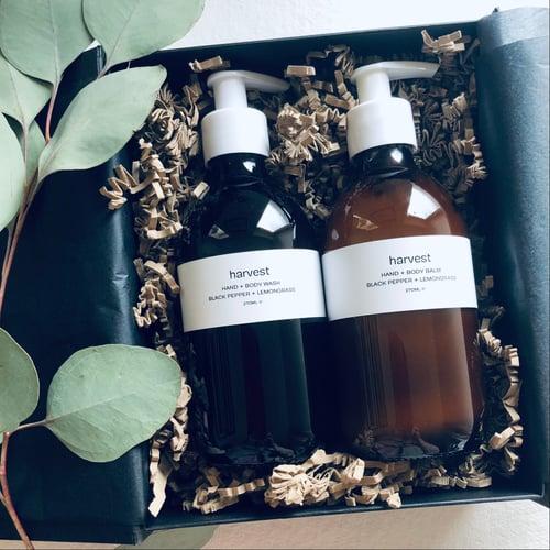 Image of Harvest Black Pepper & Lemongrass Hand + Body Wash and Hand + Body Balm Set