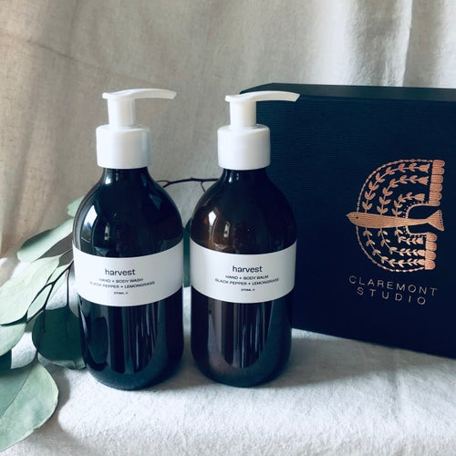 Image of Harvest Black Pepper & Lemongrass Hand + Body Wash and Hand + Body Balm Set