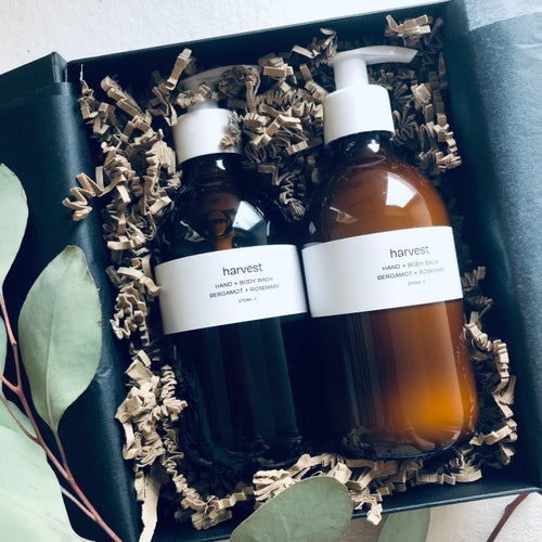 Image of Harvest Bergamot & Rosemary Hand + Body Wash and Hand + Body Balm Set