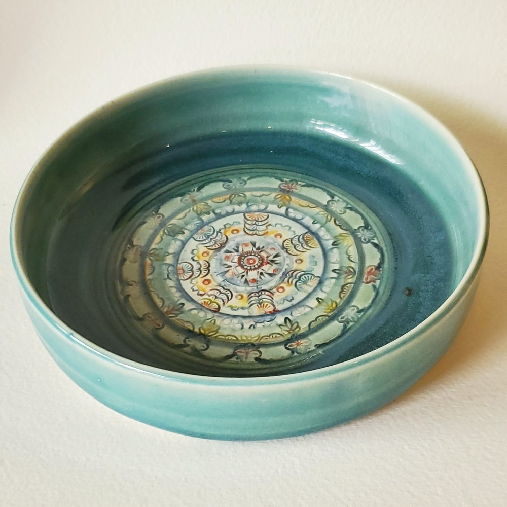 Image of Deep Teal Green Mandala Porcelain Dish