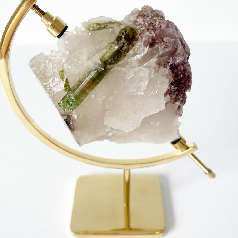 Image of Tourmaline no.35 + Brass Arc Stand