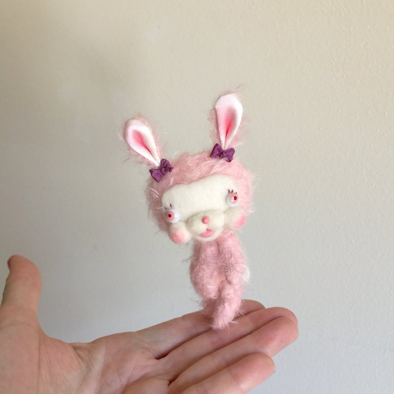 Image of Sweet Pea the Pink Mohair Bunny