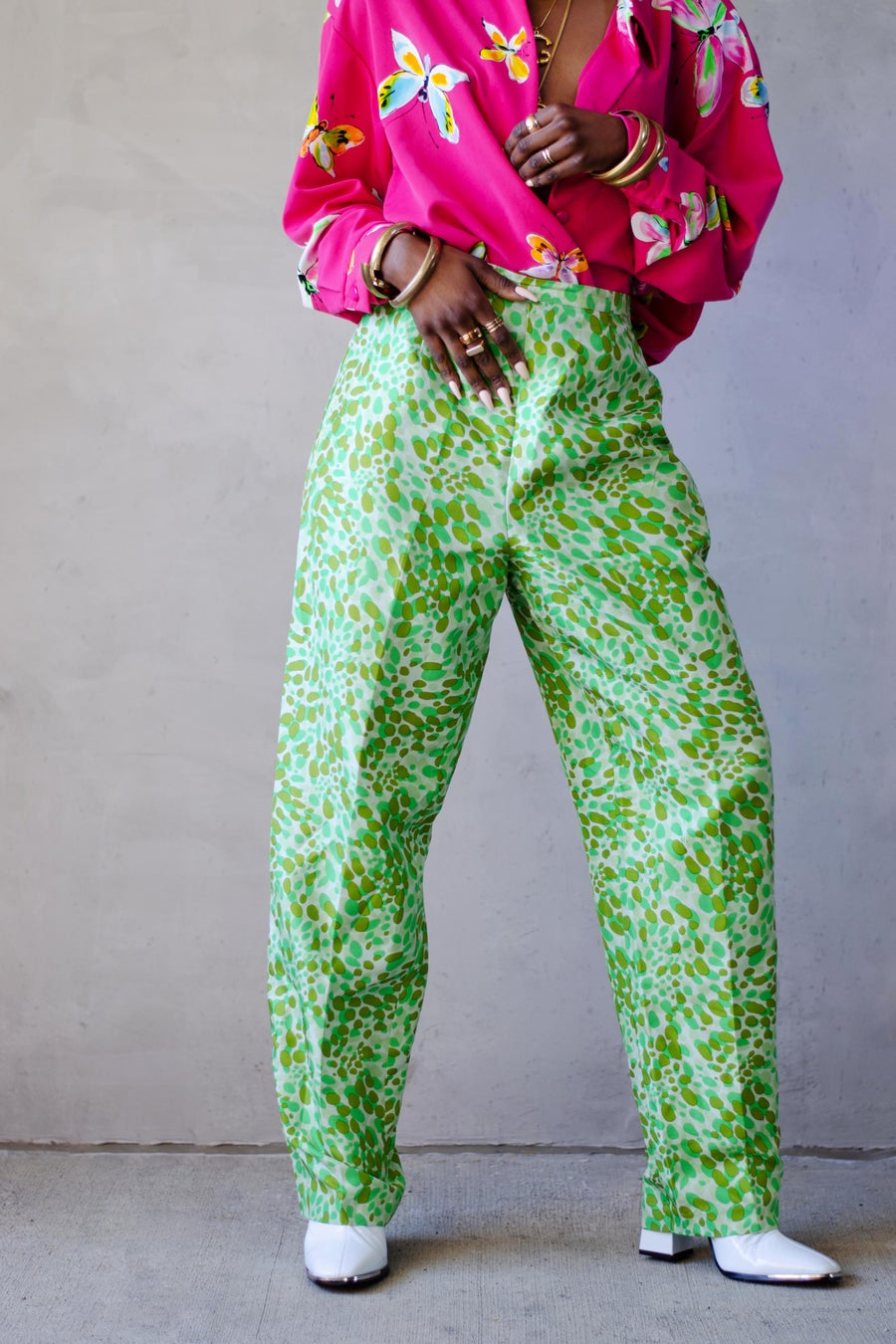 Image of Vintage Jade Mixed Green Jelly Beans Silk High Waisted Pants