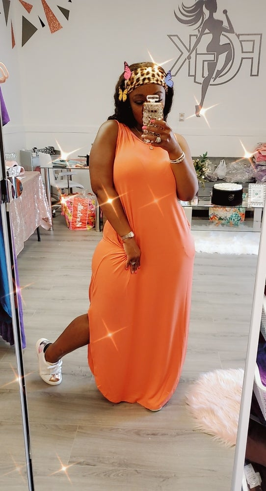 Image of Coral Sleeveless Maxi dress