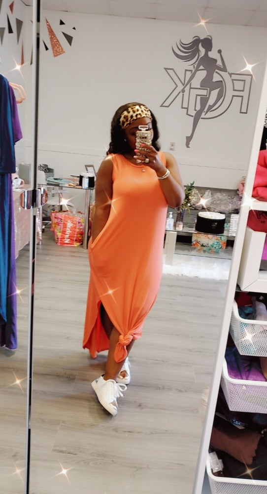 Image of Coral or Pink Sleeveless Maxi dress