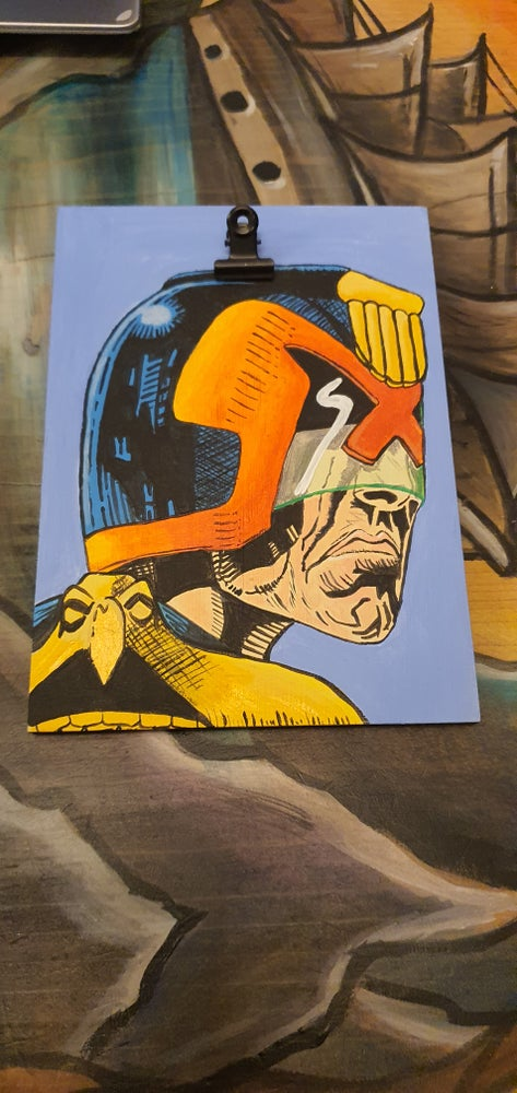 Image of Hand Painted Judge Dredd Clip board