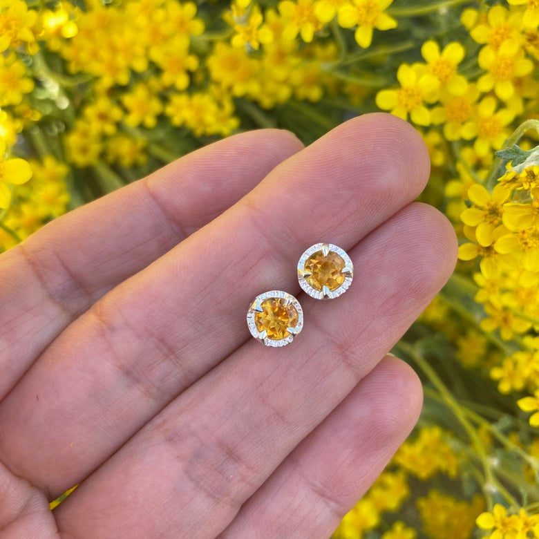 Image of faceted citrine juju studs