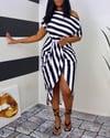 Striped print~one shoulder wrap midi dress