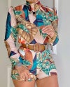 "Tropical print puff sleeve top/short ""SET"""
