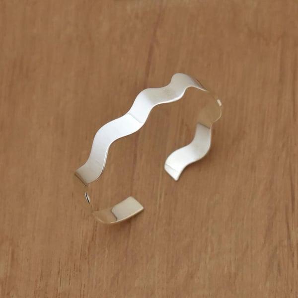 Image of 154 Wave silver cuff bracelet