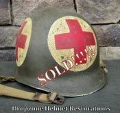 Image of WWII M1 Helmet U.S. Army Medic McCord Front Seam 4-Panel