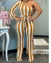 Casual 1 shoulder striped deep yellow one piece jumpsuit
