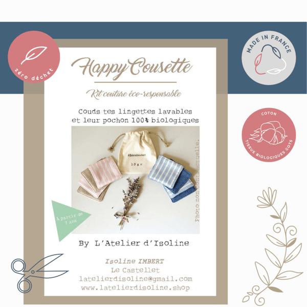 """Image of Kit couture Happy Cousette """"Couds tes lingettes et leur pochon 100% bio"""""""