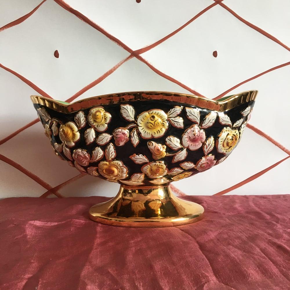 Image of Black & gold pedestal vase