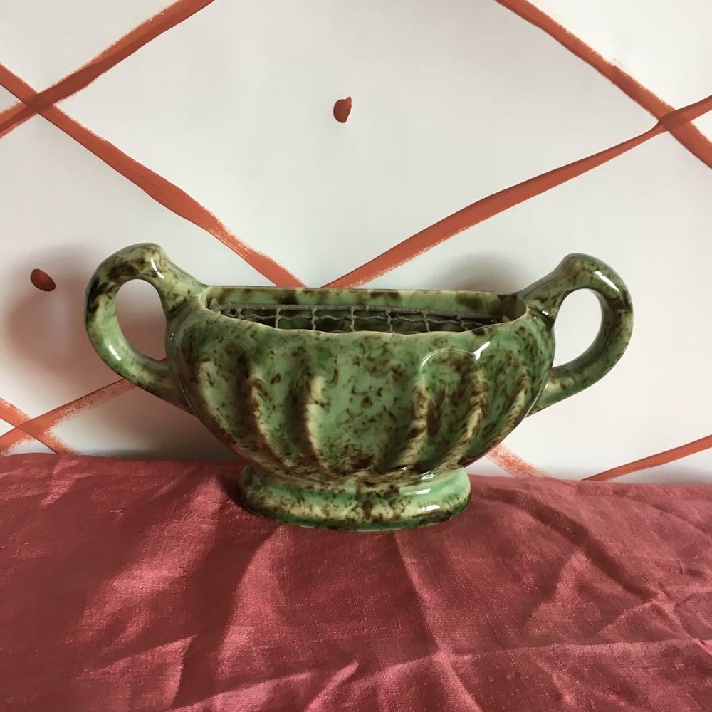 Image of Mottled green and black mantle vase