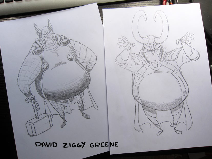 Chonky Thor & Loki original pencil drawings