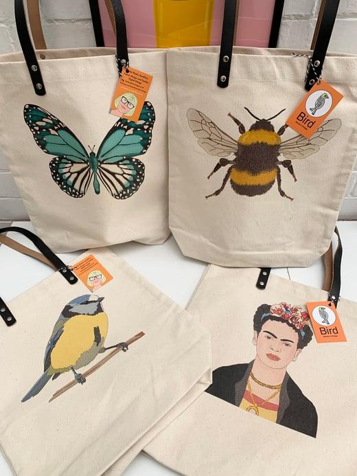 Bird Modern Vintage Leather Handled Tote Bag