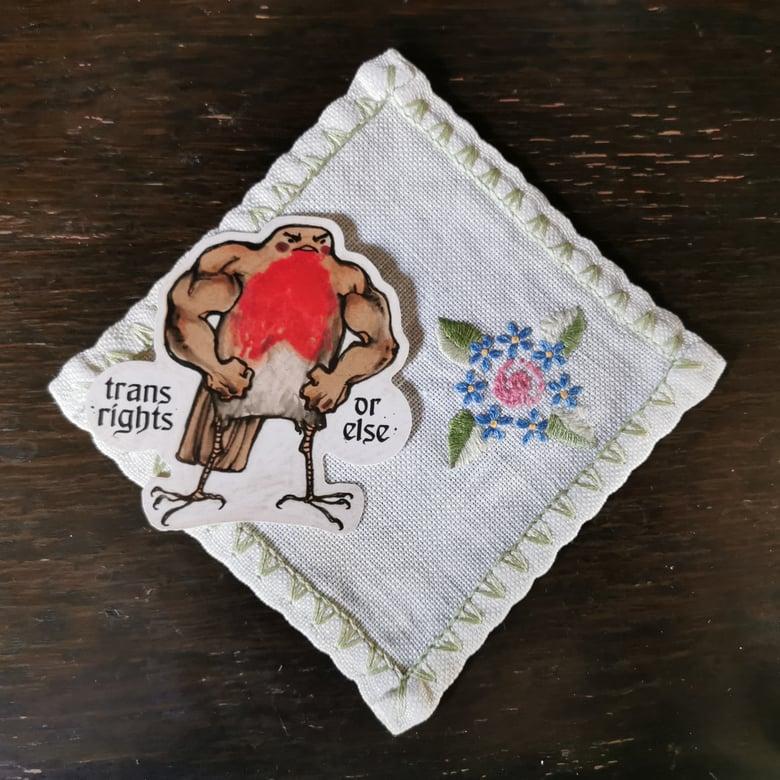 Image of Trans Rights Robin vinyl sticker
