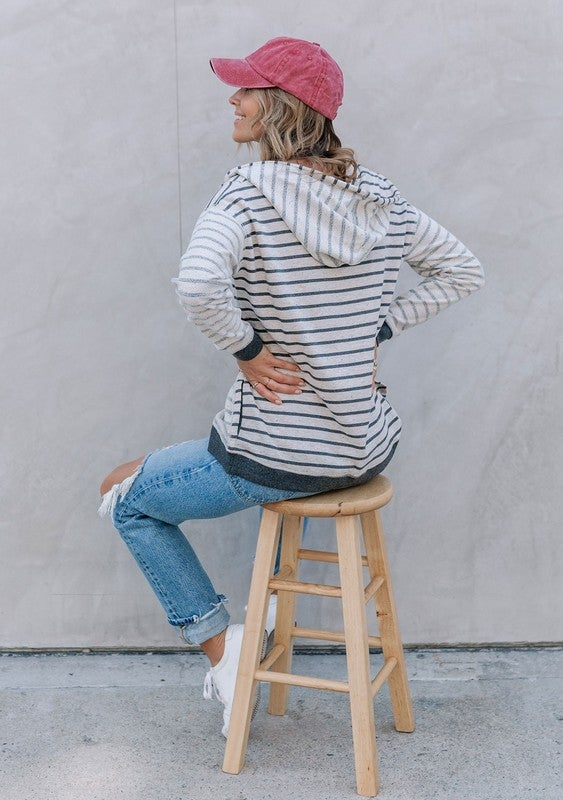 Image of Lounge Confetti Striped Pullover Hoodie