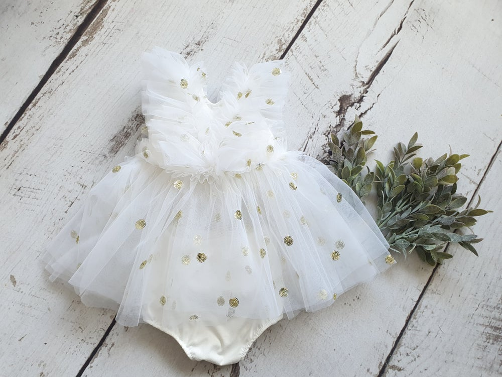 Image of Tulle dress with golden dots. Ready to post