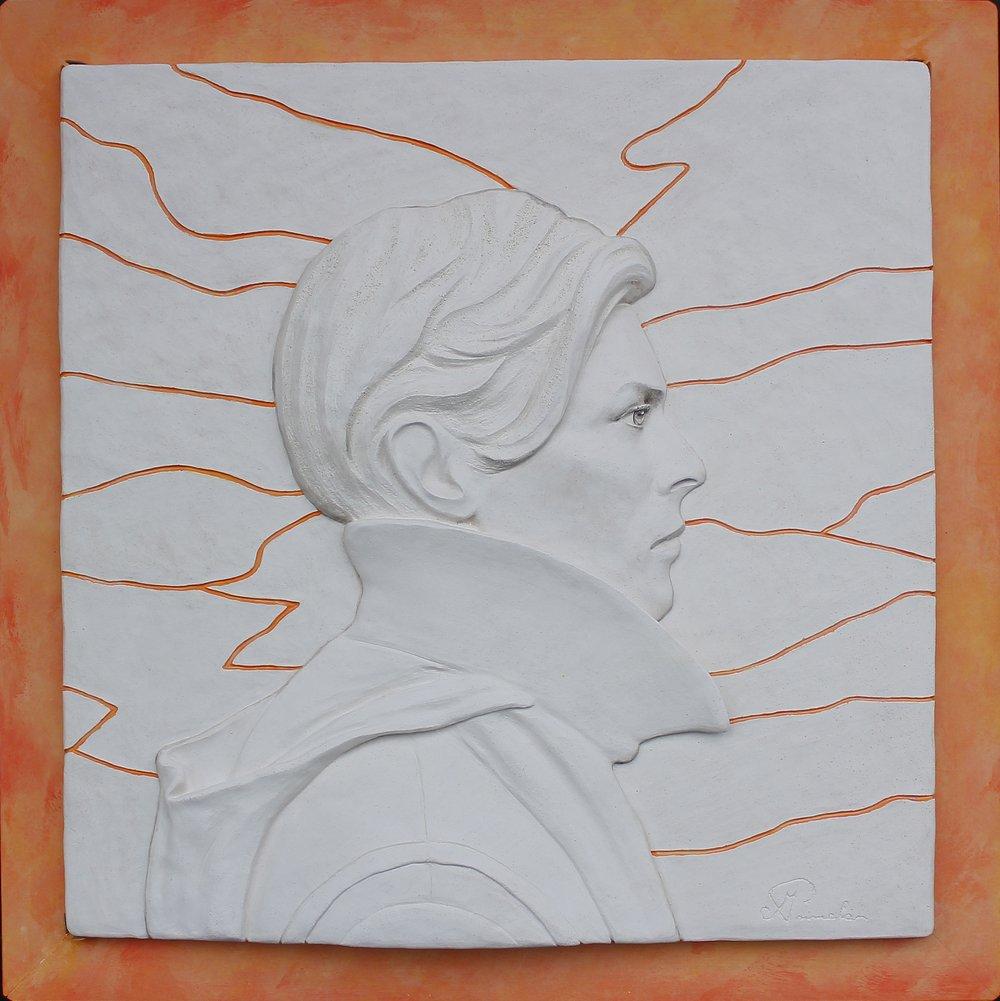 'Low' White/Orange Ceramic Wall Panel  (Framed)