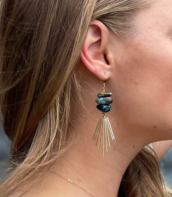 Image of Turquoise and Gold Burst Earrings