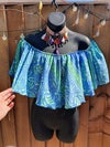 Blue and green crop gypsy top