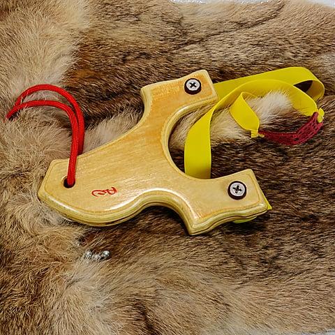 Image of Birchwood Slingshot, Small Ammo Catapult, Lightweight, Wooden Sling Shot, Right Handed Shooter