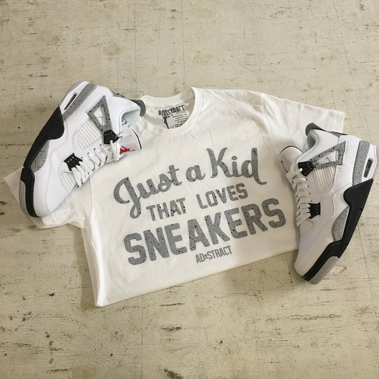 JUST A KID THAT LOVES SNEAKERS ( DOT - CEMENT PRINT) T-SHIRT {RESTOCKED}