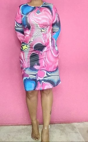 Image of PINK MULTI COLORED ROUND COLLARED LONG SLEEVE DRESS