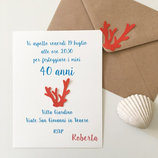Image of Invito compleanno o comunione corallo - tema marino